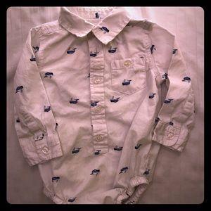 Whale dress shirt onsie